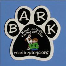 "BARK ""Beach Animals Reading with Kids"" readingdogs.org logo"