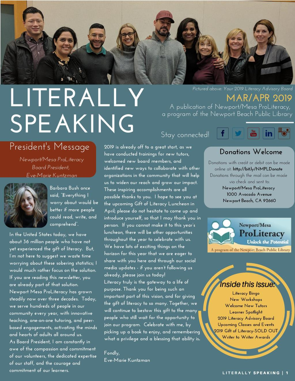 Literally Speaking March-April 2019 cover