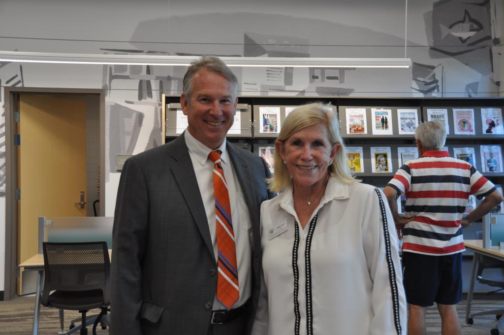 Library director Tim Hetherton and Board of Library Trustees Chair Janet Ray